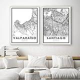 HUUDNHYK Mapa en Blanco y Negro de la Ciudad de Chile Santiago y Valparaíso Impreso en Lienzo.Las mesas en Blanco y Negro Cuadro de decoración del hogar 90x70cmx2 (36x28in) sin Marco