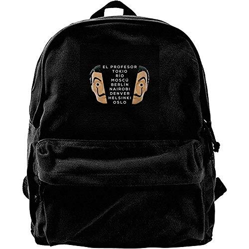 Unisex Canvas Backpack,Money Heist Casa De Papel Lista De Personajes Mochilas De Hombro...