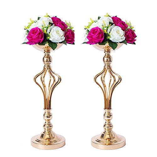 LANLONG - Jarrón de metal para boda, 2 piezas,, arreglos de