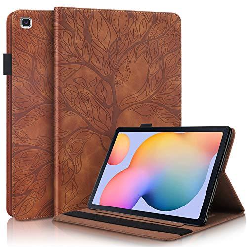 AsWant Samsung Tab S6 Lite Hülle PU Leder Brieftasche Folio Flip Tasche Stifthalter Stand Tablet Schutzhülle für Samsung Galaxy Tab S6 Lite 2020 10.4 Zoll SM-P610/SM-P615 Geprägter Baum - Braun