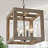 Farmhouse Chandelier, New Modern Farmhouse Light Fixture, 4-Light Lantern Square Chandelier with Wood (Weathered Brown)