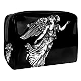 Bolso Cosmético Impermeable Angel Wing Negro Neceser Viaje Bolsa de Maquillaje Portable Neceser de Bolsa de Lavado de Viajes Vacaciones Elementos Esenciales 18.5x7.5x13cm