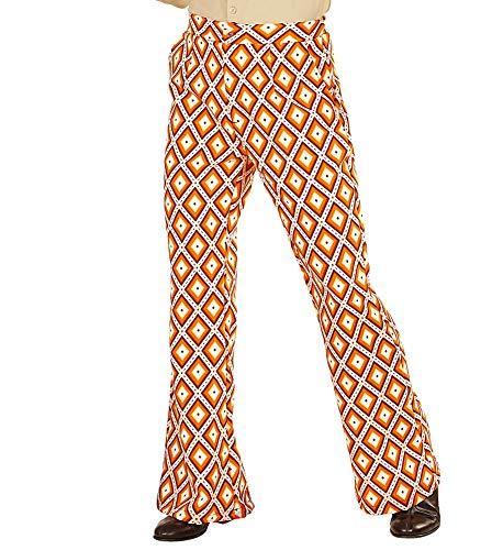shoperama Pantalones retro para hombre de los aos 70, con y sin patrn, disfraz de pueblo setenta, talla: S/M, color: rombo