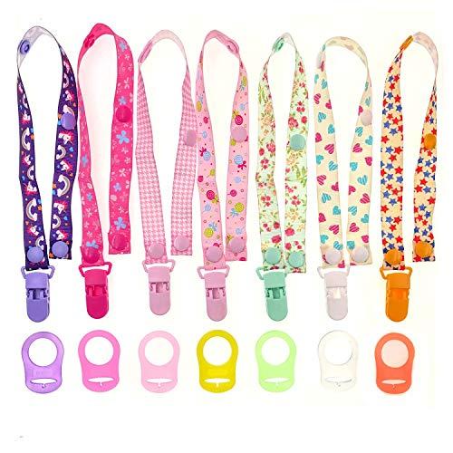 JZK 7 Chupetes de clip bebé y 7 anillo chupete adaptador silicona, cadenas para chupetes correa cinta para chupetero chupetes MAM y otros chupetes similares