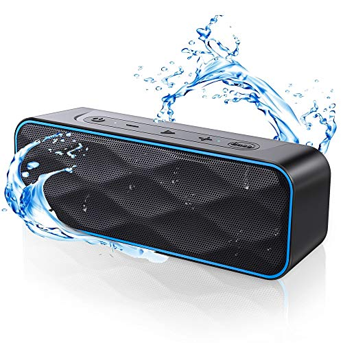 Altavoz Bluetooth Potente 20W, ZoeeTree Altavoces Bluetooth Portátil TWS, 36H de reproducción, Impermeable IPX7, Bass+ y Sonido Estéreo, Altavoces con micrófono, AUX/TF, para Exterior, Ducha, Coche