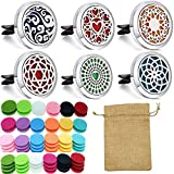 6 PCS car Aromatherapy Fragrance Essential Oil Diffuser Vent Clip Stainless Steel Diffuser with 72 Replacement Felt pad