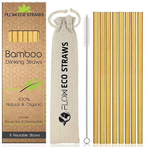 Cannucce in bambù –Cannucce riutilizzabili, 100% naturali, biodegradabili, ecologiche, per bibite, cocktail; set di cannucce con custodia in lino e imballaggio riciclato