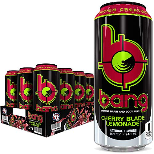 Bang Cherry Blade Lemonade Energy Drink, 0 Calories, Sugar Free with Super Creatine, 16oz, 12 Count