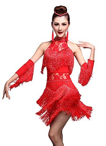 Z&X Women's Rhinestone Tassel Flapper Latin Rumba Dance Dress 4 Pieces Outfits Medium Red, Tag M, Fit 2-4