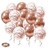 Globos de Oro Rosa, Globo de Látex Globos de Confeti para Fiestas Cumpleaños y Decoraciones de Bodas (50 piezas)