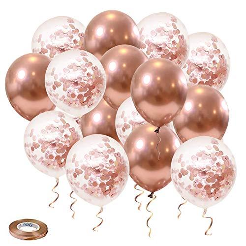 Palloncini Oro Rosa, 50 pezzi Palloncini Coriandoli Oro Rosa per Compleanni, Cerimonie di Laurea, Addii al Celibato, Decorazioni per Feste