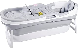 Hello Bath ® Baignoire pliable adulte / Baignoire gonflable gris + couvercles, housse de rangement, tuyau de drainage de 2...