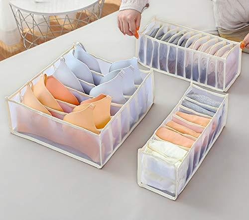 Wondsea 3Pcs Unterwäsche Schublade Organizer, Upgrade BH Organizer, Faltbare Schublade Teiler für Socken Höschen BH, Home Organisation Schublade Platz sparen (Golden)