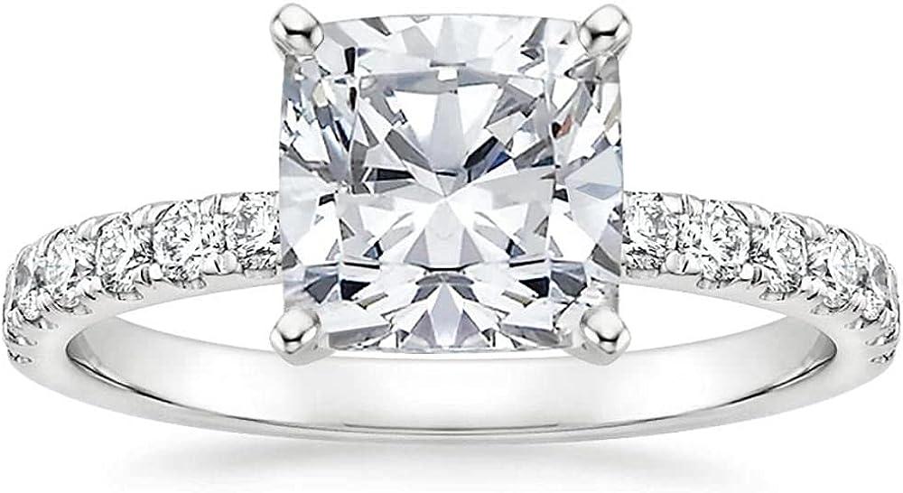 Moissanite Engagement Rings Engagement Rings For Women White Gold Cushion Cut 1 Carat(1 CT) Free Engraved 10K 14K 18K