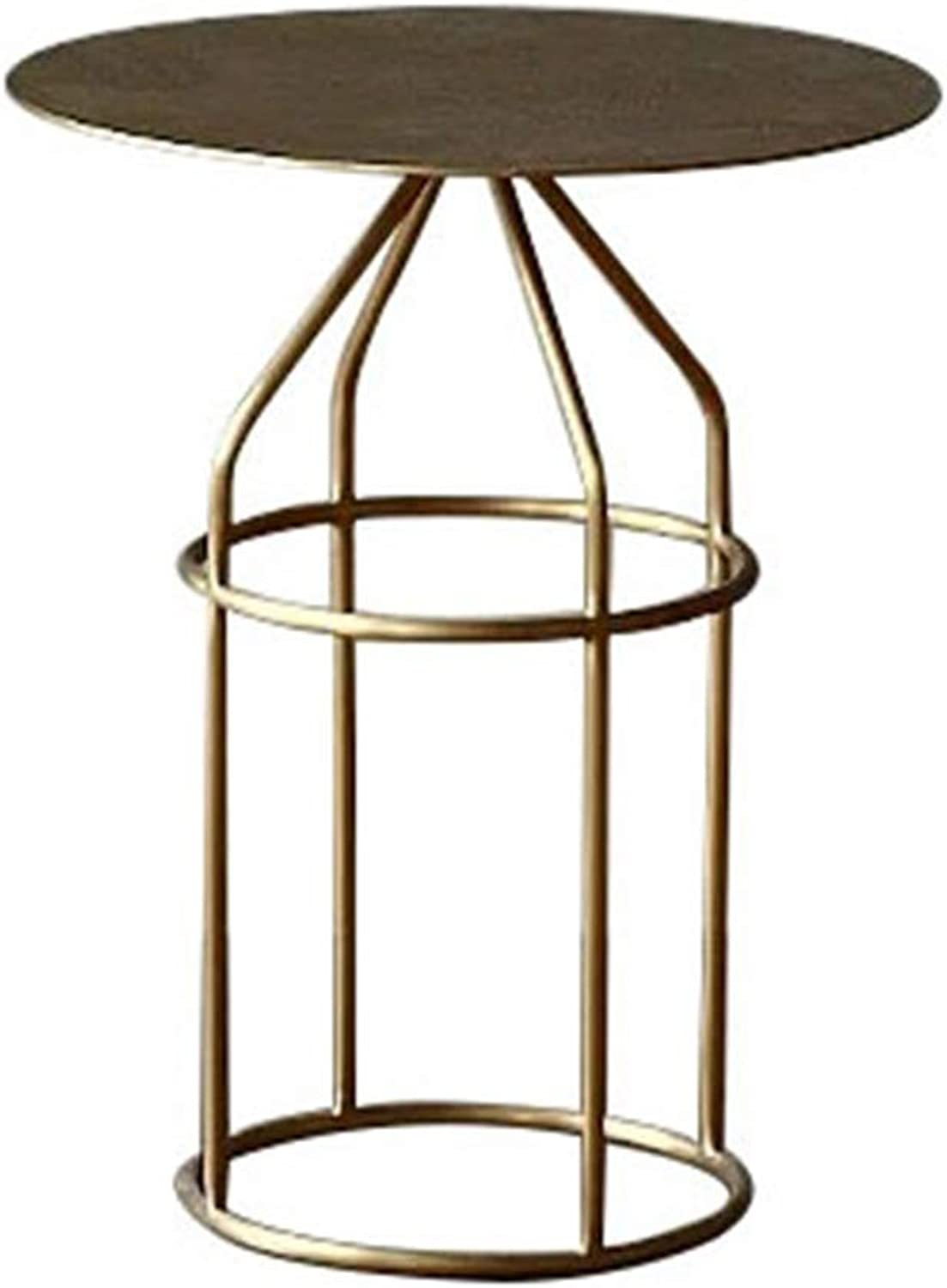 Iron Small Table Save Space for Living Room Bedroom Study Small Round Table gold 007