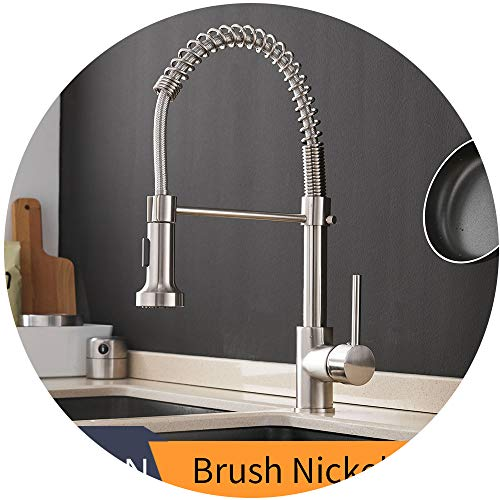 Best Buying Choice Kitchen Faucets Brush Brass Faucets for Kitchen Sink Single Lever Pull Out Spring Spout Mixers Tap Hot Cold Water Crane 9009