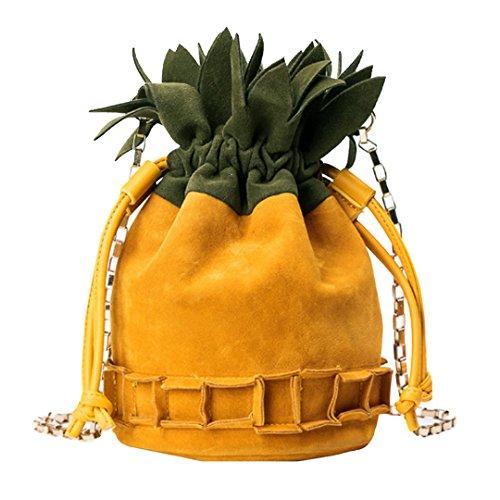 Milya Herbst und Winter Neue Eingeschliffen Damen Mädchen Tasche Schultertasche Umhängetasche Abendtasche mit Metallkette Ananas-Förmig Gelb