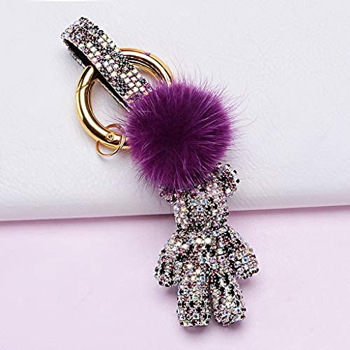 Llavero Colgante Llavero Llavero para Mujer Monedero Charms para Bolsos Crystal Little Bear Colgante con Accesorios de Anillo de Llaves Bolsa de Coche Encanto (Color: Rosa) (Color : Mixed Purple)