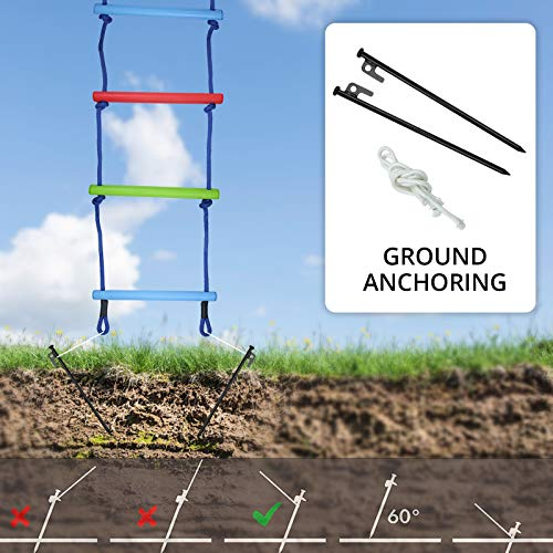 Trsmima Climbing Rope Ladder for Kids with Ground Anchoring, 6.7FT Rope Ladder for Treehouse, Polyester Ninjaline Ladder, Indoor Playset and Outdoor Playground Backyard Hanging Ladder for Swing Set