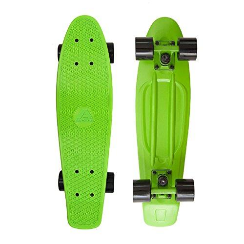 Apollo Fancy Skateboard, Vintage Mini Cruiser, Komplettboard, 22.5inch (57,15 cm), Mini-Board mit Holz Oder Kunstsoff Deck mit und Ohne LED Wheels, Farbe: Grün/Schwarz