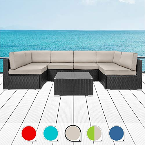 Walsunny 7pcs Patio Outdoor Furniture Sets,Low Back All-Weather Rattan Sectional Sofa with Tea Table&Washable Couch Cushions(Black Rattan (Khaki)