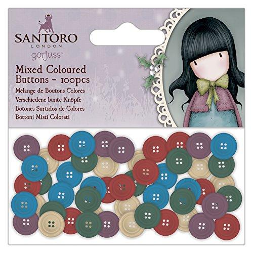 Santoro Gorjuss buttons-set di 100pezzi misti, multicolore, taglia unica
