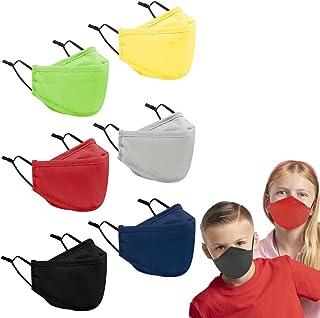Kids Cloth Face Masks Reusable - Breathable Washable School Masks Pack with Filter Pocket for Boys Girls 6 Pack