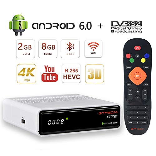 GT MEDIA GTS Satelliten Sat Receiver 4K Android 6.0 TV Box DVB-S/S2 Amlogic S905D 2GB+8GB 3D H.265 HEVC MPEG-2/4 WiFi 2.4G Ethernet BT 4.0 Smart TV Box mit Netflix