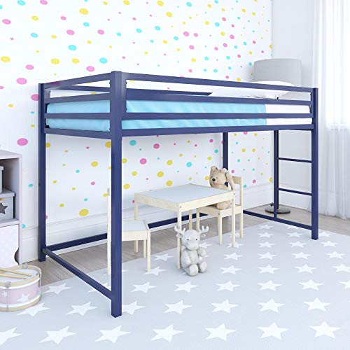 DHP Miles Junior Metal Loft Bed Kid's Bedroom, Blue, Twin