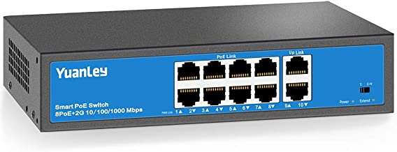 YuanLey 8 Port PoE Switch, 2 UpLink Gigabit, PoE Plus 802.3af/at, 120W Built-in Power, Vlan Up to 250m, Metal Plug & Play Network Switch