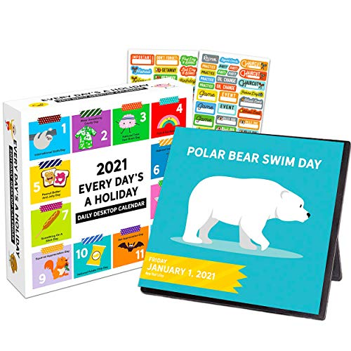 Every Day's A Holiday 2021 Calendar Box Edition Bundle - Deluxe 2021 Holiday Everyday 365 Daily Pages Box Calendar with Over 100 Calendar Stickers