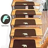 Luminosa Huellas de escalón Anti Slip para niños Ancianos Escalera Protector Reutilizable Huella de peldaño Auto-Adhesivo de la Alfombra por Las escaleras la decoración del hogar,Marrón