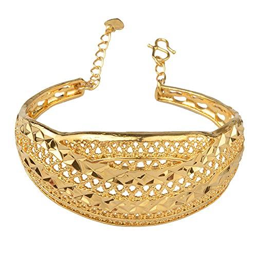 Pulseras brazalete africano Dubai árabe de Color dorado para mujer,regalos deboda de moda,no adecuados para brazos grandes # J0984