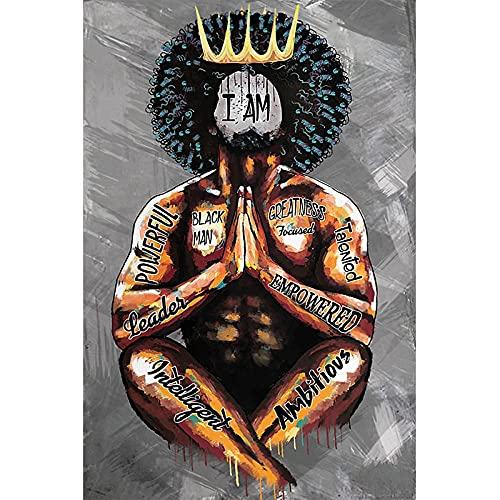 Abstrakt afrikansk man för graffitikonst med kronaffischer och på skärmväggen för vardagsrumsdekoration utan ram 70x100cm Ingen ram