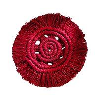 ZJN-JN 編組表マットカップコースター手織りのタペストリーマクラメウォールオフィスアパートバーの自由奔放に生きるインテリアホームデコレーションハンギング (Color : Red)