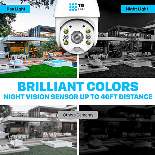 TBI Pro Solar Security Camera Outdoor Wireless PTZ - WiFi Home Security Camera System IP - Rechargeable Battery Powered 15600mah HD True Colors Night Vision 2-Ways Audio for 128GB SD Motion Detection