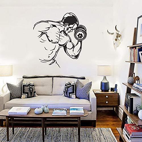 Gimnasio tatuajes de pared fitness culturismo hombres mancuernas ejercicio vinilo pegatinas de pared murales de ventana fuerte vida saludable inspirador