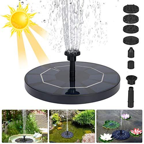 flintronic Fuente Solar Bomba, 3.5W 1500mAH Fuente de Jardín Solar, Fuente Solar Jardín con 6 Boquillas para Diferente Forma de Chorro, para Decoración de Jardín, Fuente, Piscina, Jardín, Estanque