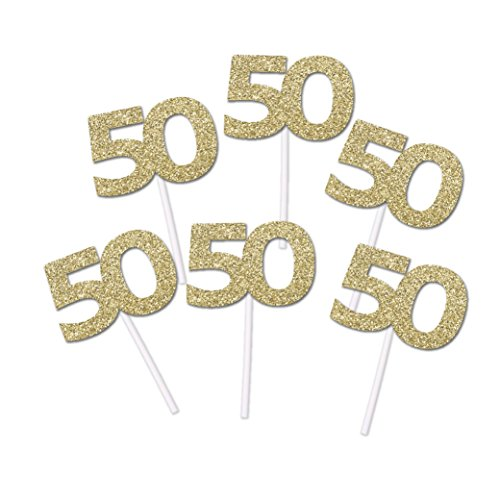 50th Birthday Gold Glitter Cupcake toppers (20 count)