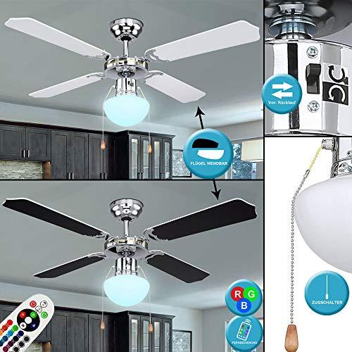 LED Decken Ventilator RGB Fernbedienung Flügel wendbar schwarz weiß Vor-Rücklauf Leuchte Lampe