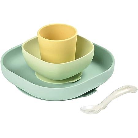 BÉABA Juego de Vajilla en Silicona Infantil, Ventosa resistente, Set de 4 Piezas para bebé, Plato + Bol + Taza + Cuchara, Alta calidad, Accesorios para el Aprendizaje de bebé, Amarillo