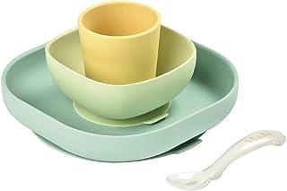 BÉABA, Set Vaisselle Silicone Repas Bébé, Avec Ventouse, Anti-dérapant, 4 Pièces, Assiette + Bol+ Verre + Cuillère, Silico...
