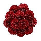 Tifuly Flores de Hortensia Artificial, 12 Piezas de crisantemo de Seda pequeña Bola de Flores para la decoración de la Oficina del jardín del hogar, Ramos de Novia, arreglos Florales(Rojo)