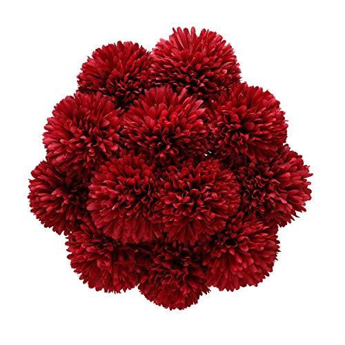 Tifuly Künstliche Hortensie Blumen, 11 Zoll Seide Pompon Chrysantheme Kugel Blumen für Hausgarten Party Büro Dekoration, Braut Hochzeitssträuße, Blumenschmuck, Mittelstücke(12 Stück, Rot)