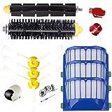 E.LUO Accessory for iRobot Vacuum Cleaner 500 600 610 620 650 Series - 3 Pack Filter, 3 Side Brush, 1 Pack Bristle Brush & Flexible Beater Brush,1 Robot Wheel