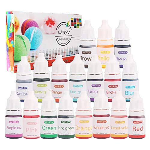 Wtrcsv Colorant de Savon, 5ml x 18 Couleurs Colorants Liquide de Bombe de Bain, Pigment Liquide, Colorant pour Savon, Pigment Résine époxy, Colorant Résine époxy - 90 ML