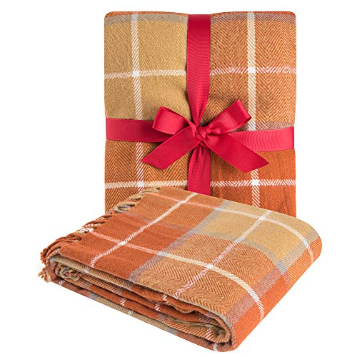 "G Lake Orange Plaid Blanket Throw Acrylic Soft Reversible Dyed Fringed Bed Blanket Gift for Christmas Decorations 50"" W x 67"" L-Pumpkin Orange"