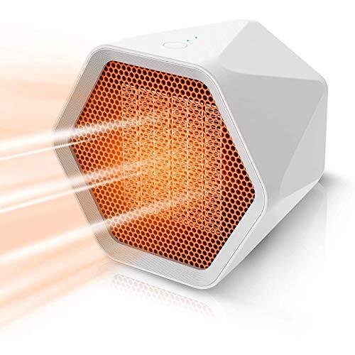 SSZZ Calentador De Espacio Portátil para Oficina Hogar Calentador De Escritorio Silencioso Calentamiento Rápido Mini Calentador Eléctrico De Cerámica,Blanco