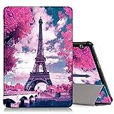 ZhuoFan Funda Huawei Mediapad T5 10, Cárcasa Cuero PU Silicona Magnetica Función de Soporte y Auto-Desbloquear Cover Protector Piel Compatible con Huawei Mediapad T5 10.1 Pulgadas Tablet, Torre Eiffel