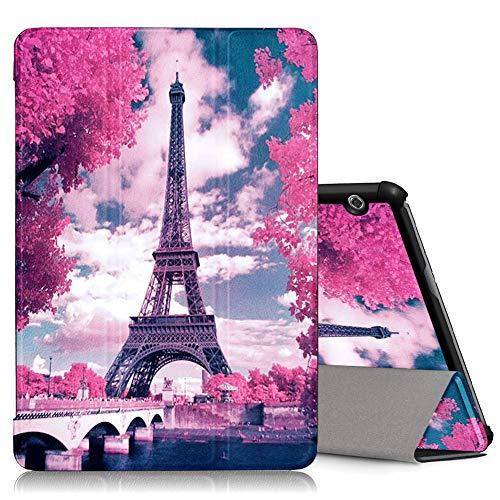 ZhuoFan Huawei Mediapad T5 10 Hülle, Schlanke Leicht Case Tasche Ständer Schutzhülle mit Muster Motive Cover für Huawei T5 10,1 Zoll Tablet, Eiffelturm